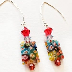 handmade floral glass and crystal bead earrings